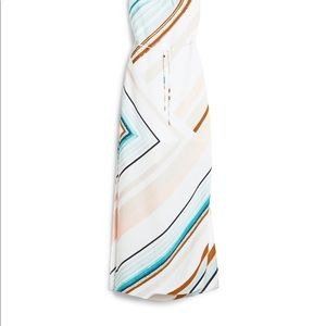 NWT WHBM Asymmetrical Stripe Maxi Dress White Aqua